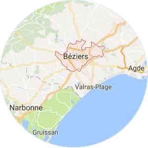 carte Béziers (34 Hérault)