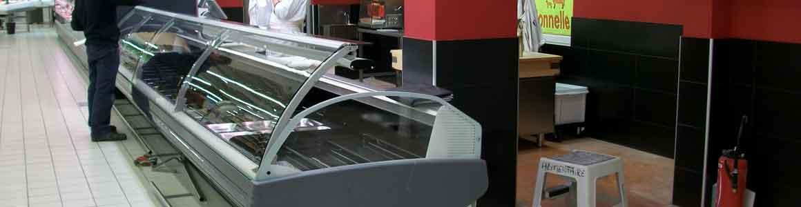 installation vitrine réfrigérée supermarché